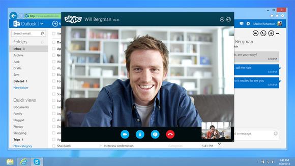 Muonekano wa Skype inayotumika kupitia kwenye mtandao, hapa ikiwa imetumika ndani ya huduma ya barua pepe ya Outlook inayomilikiwa na Microsoft