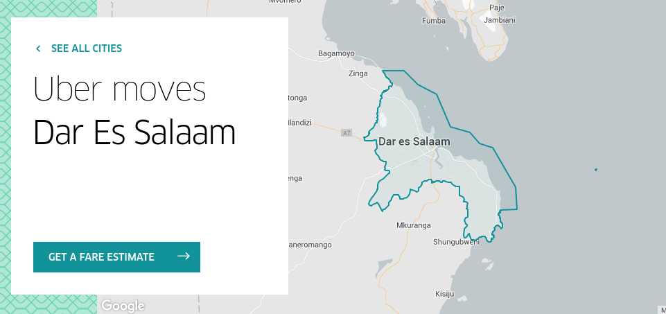 usafiri wa uber jijini dar es salaam