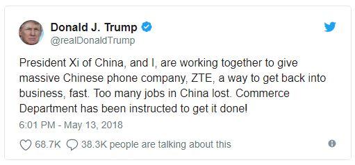 Rais Trump airudisha ZTE Marekani