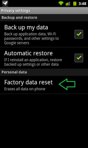 Reset android phone using factory data reset