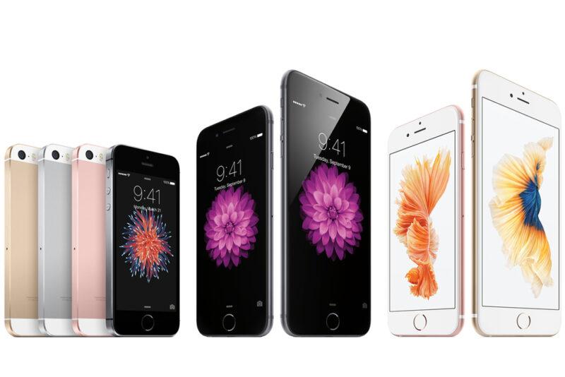 iPhone SE kushoto ikiwa pamoja na iPhone 6S, 6S Plus, 6 na 6 Plus