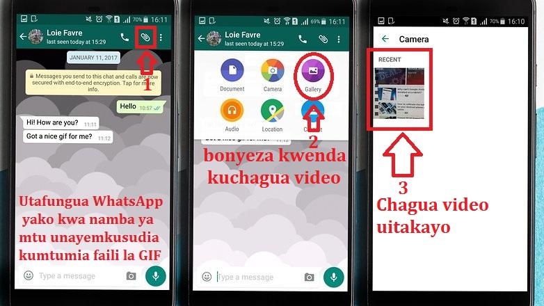 kutengeneza mafaili ya GIF kupitia WhatsApp