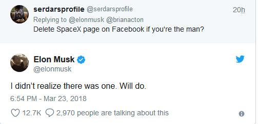 kurasa za SpaceX na Tesla kwenye Facebook
